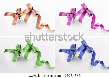 Easter Eggs With Ribbon Bow Isolated On White Background