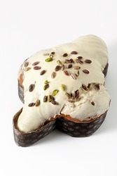 Easter festive sweet italian Bread Colomba with pistachio cream isolated on white