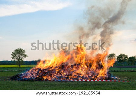 Easter Fire on Easter Sunday, photographed in Westen, Lower Saxony, Germany