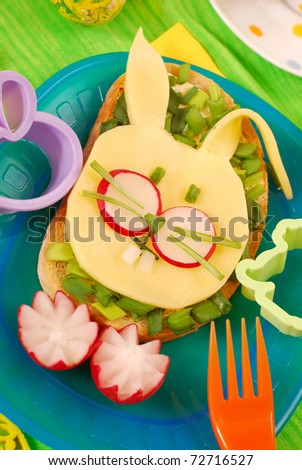 easter funny sandwich with  bunny for child`s breakfast