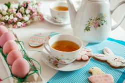 Easter Gingerbread Cookies With A Teapot And Teacups