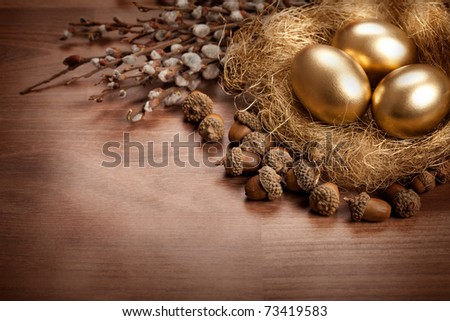Easter - golden eggs and catkin