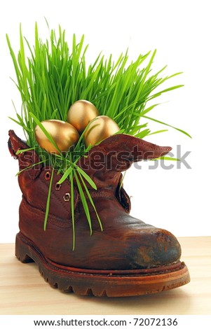Easter golden eggs in old shoes, with fresh grass   Happiness  you can be found everywhere, just look around ourselves