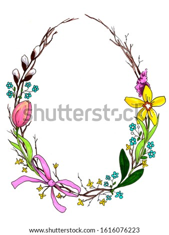 Easter greeting card with floral frame in egg shape. Perfect for season greetings and spring holidays. Hand drawn illustration