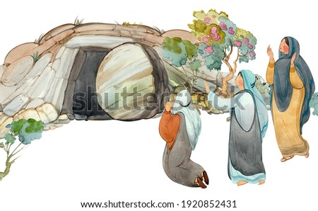 Easter hand drawn watercolor illustration of the Cave of the Resurrection of Christ, the Myrrh-Bearing Woman. Plowing clipart, Religious church background, print Resurrection Foto stock ©