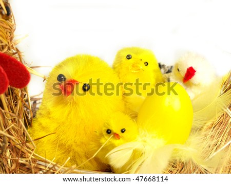 Easter hen with young chickens inside