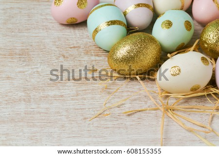Easter holiday background with modern eggs decorations #608155355