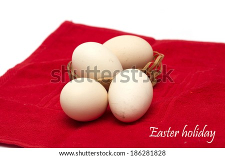 Easter holiday. Easter eggs in the basket. Photo.