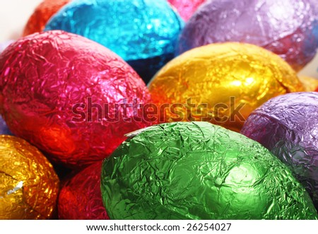 Easter holidays chocolate image isolated with area for text