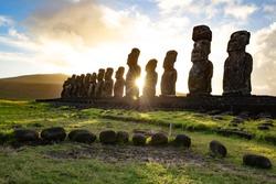Easter island landscape. Ahu Tongariki. Panoramic view Papa nui.