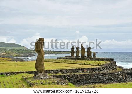Easter Island (Rapa Nui) - Anga Roa - Tahai - Ahu Vai Uri Moais and Ahu Tahai Moai Stok fotoğraf ©