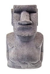 Easter island stone statue isolated over a white background