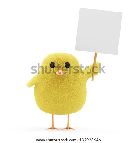 Easter Little Chicken with Blank Board isolated on white background