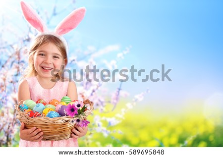 Easter - Little Girl With Basket Eggs And Bunny Ears  #589695848