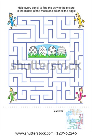 Easter maze game and coloring activity page for kids: Help the pencils to get to the picture in the middle and color the eggs! Answer included. For vector EPS see image 129962243