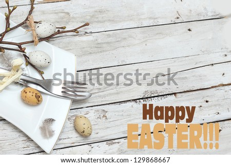 Easter menu. Knife with fork and Easter egg