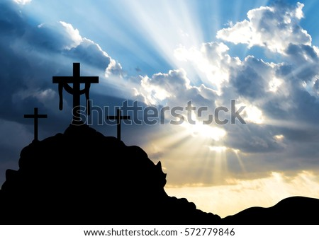Easter morning, Calvary hill with silhouettes of the cross, Resurrection background with sun rays, abstract background with copy space for text