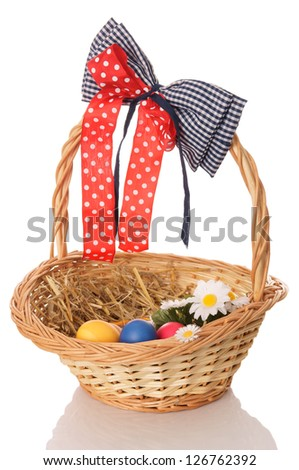 Easter nest with eggs / Easter - stock photo