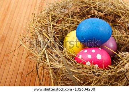Easter Nest with Eggs on the table