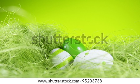 easter nest with green background 3, format 16:9