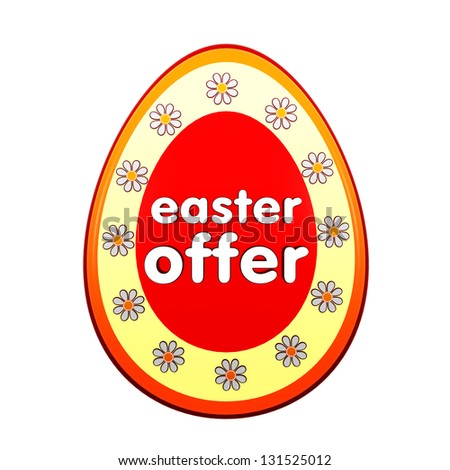 easter offer banner - 3d red egg shape label with white text and flowers, business concept