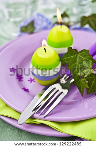 Easter Place Setting with Candles