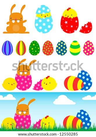 easter bunnies eggs and chicks. easter bunnies eggs and
