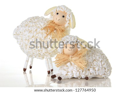 Easter sheep, studio isolated on white.