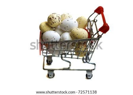 easter shopping cart with eggs isolated on white