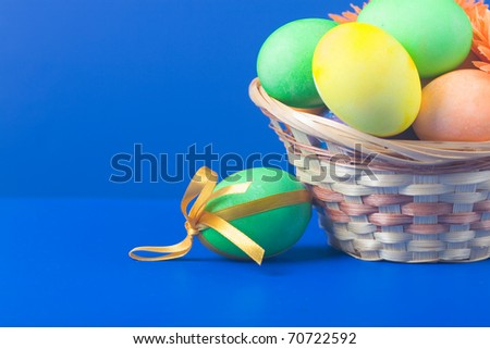 Easter still life on a blue background