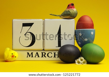 Easter Sunday, March 31, block calendar save the date, with colorful easter eggs against a bright yellow background.