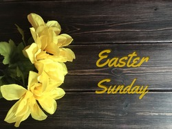 Easter Sunday with yellow daffodils