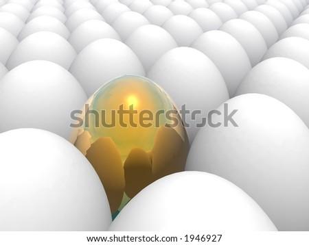 easter surprise golden egg (different element concept)