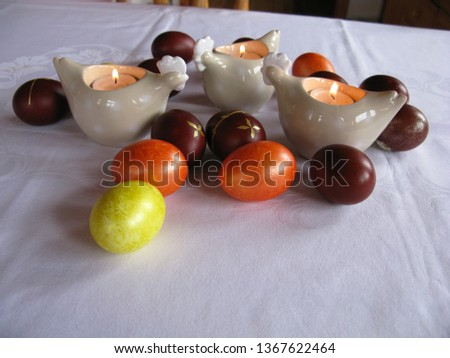Easter symbols - Ester cake and eggs with oak grass and porcelain  figures of chicken. #1367622464