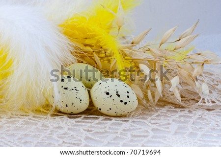 Easter Table Decorations, Background For Postcard Stock Photo 70719694 ...