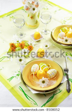stock photo : Easter table setting