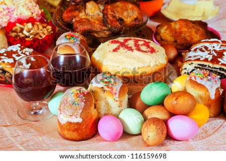 Easter table with celebrate cakes  and other meal