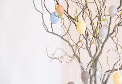 Easter. Vase with birch tree branches with Easter eggs