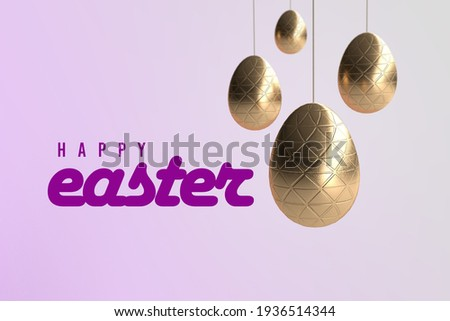 Easter wallpaper with hanging golden eggs and the phrase Happy Easter en lilas - 3D rendering  Foto stock ©