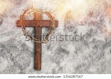 Easter wooden cross on black marble background religion abstract palm sunday concept - Image