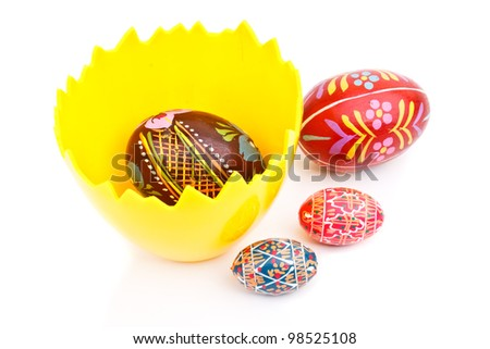 Easter wooden eggs isolated on white background