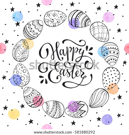 Easter wreath with eggs hand drawn black on white background. Decorative frame from easter eggs in circle shape with watercolor dots and black stars. #581880292