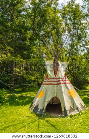 Eastern Canadian Common Tipi featuring vivid yellow,red and taupe colors #1269818332