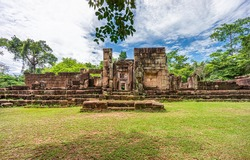 Eastern entrance of Prasat Ta Muean Thom. It is an Ancient Khmer temple in Surin province, Thailand, Southeast Asia.