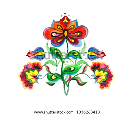 Eastern european ornate flowers. Watercolor motif for floral embroidery