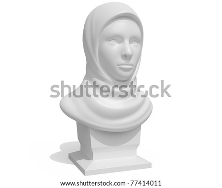 eastern female bust isolated over white background