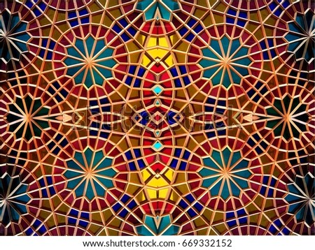Eastern mosaic . Eastern fantasy. Patterns and ornaments #669332152