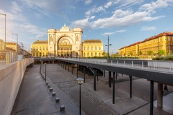 Eastern railway station with underground space during the sunset in Budapest city, Hungary