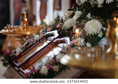 Eastern Russian Orthodox Church interior, church candles, church icons #1372614431