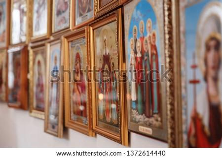 Eastern Russian Orthodox Church interior, church candles, church icons #1372614440